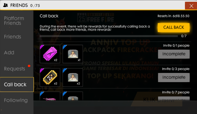 Bahas Detail Event Call Back 25 Agustus Event Anniversary Free Fire