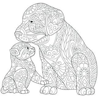 דפי צביעה לילדים גדולים - כלבים