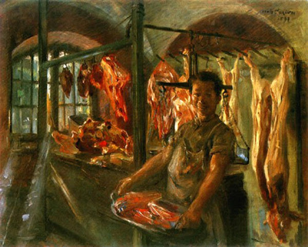 Butcher Shop by Corinth Lovis, Macabre Art, Macabre Paintings, Horror Paintings, Freak Art, Freak Paintings, Horror Picture, Terror Pictures