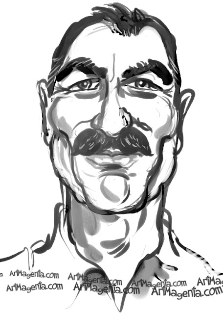 Tom Selleck caricature cartoon. Portrait drawing by caricaturist Artmagenta