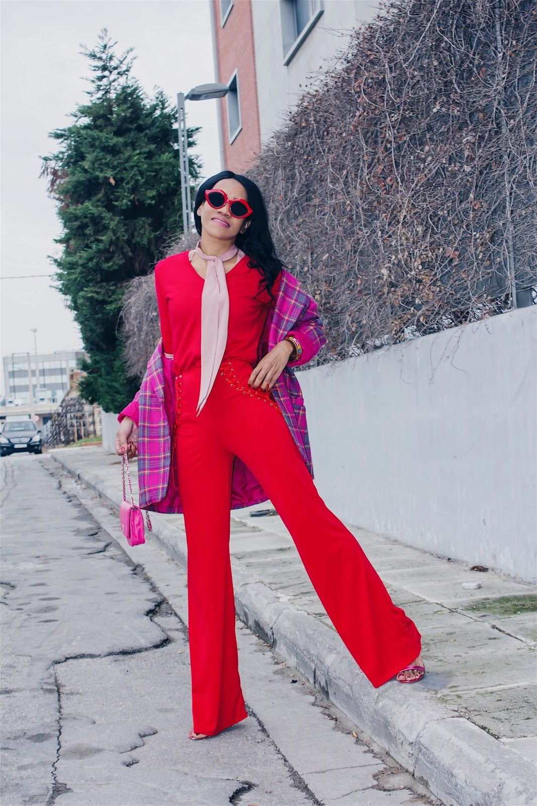 fee00ddacca The fit of this red pants is impeccable. I simply love it!!! It has the  lace-up detailing on both sides of the hip line