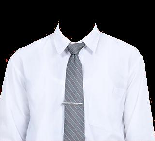 Preview template kemeja putih transparan dasi abu-abu