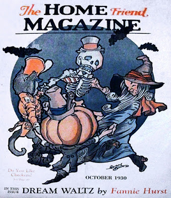 Skeleton, Witch, Pumpkin-head Scarecrow, and Uniform cat waltz in front of a dark moon surrounded by bats