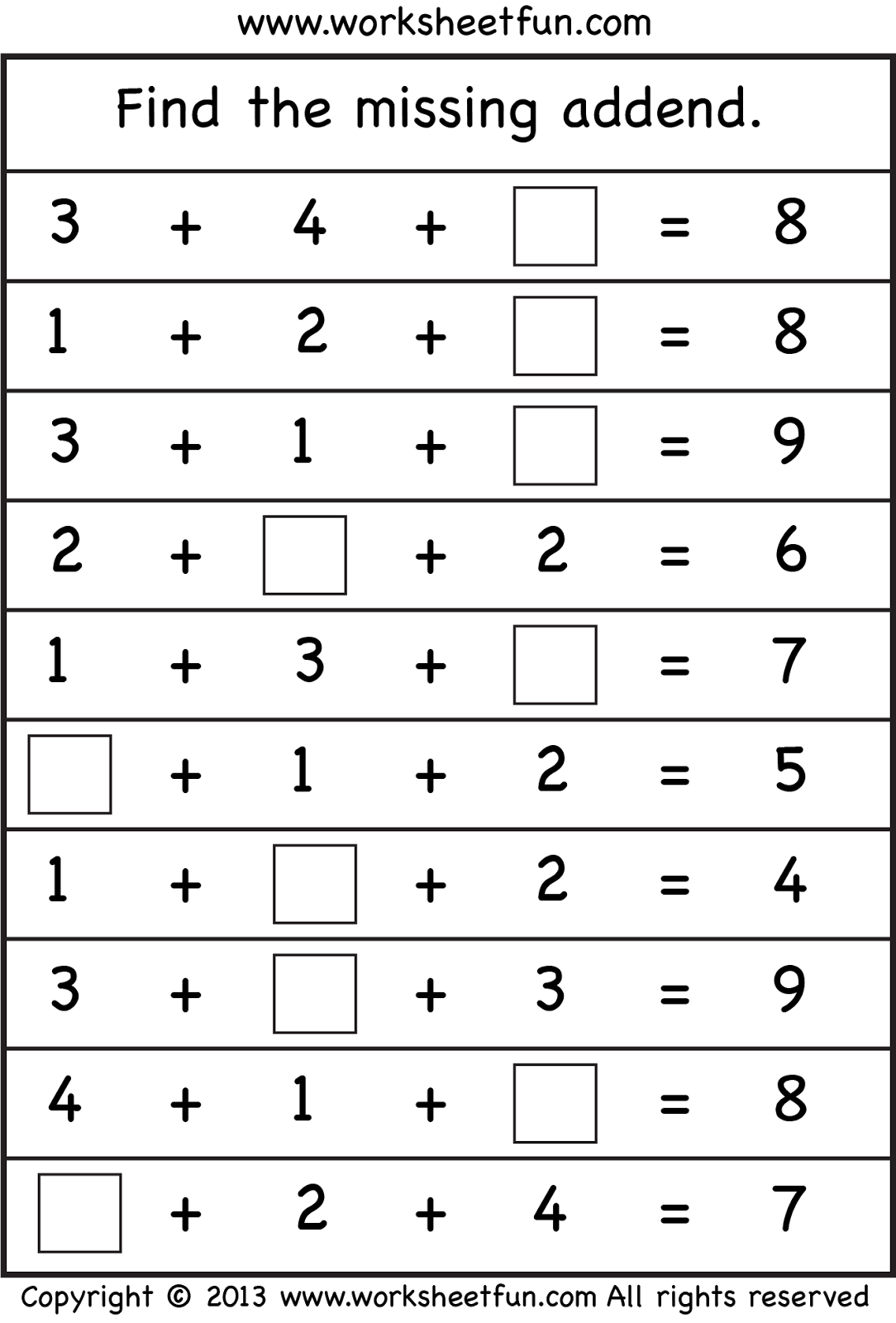 Add Three Numbers Worksheet