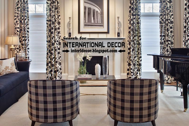 black and white living room curtain styles, living room window treatments