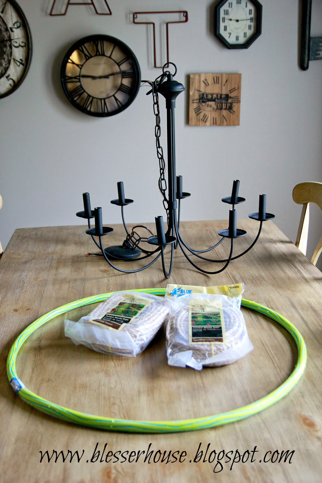 Before I got started on the rope part I cut my hula hoop with a hand saw and poured out the little beads insideu2026so surreal to my inner childu2026like seeing ... & DIY Restoration Hardware Knock-Off Rope Chandelier - Blessu0027er House