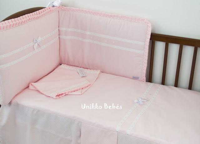 vestidura cuna rosa blanco