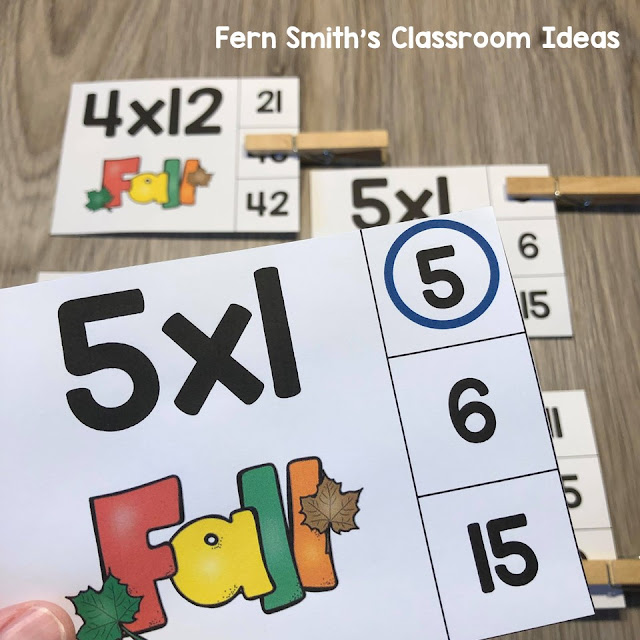 Click Here to Download These Easy to Prep Fall Themed Multiplication Zero to 12 Fact Families Clip Card Math Centers For Your Class Today!