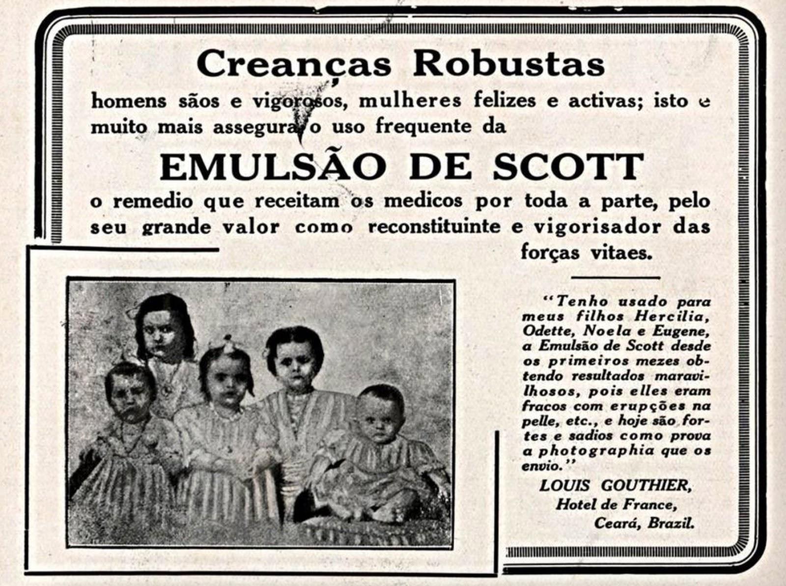 Propaganda antiga do Emulsão de Scott para fortalecimento de crianças em 1914