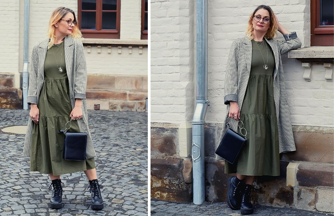 Derbe-Boots-langes-Kleid