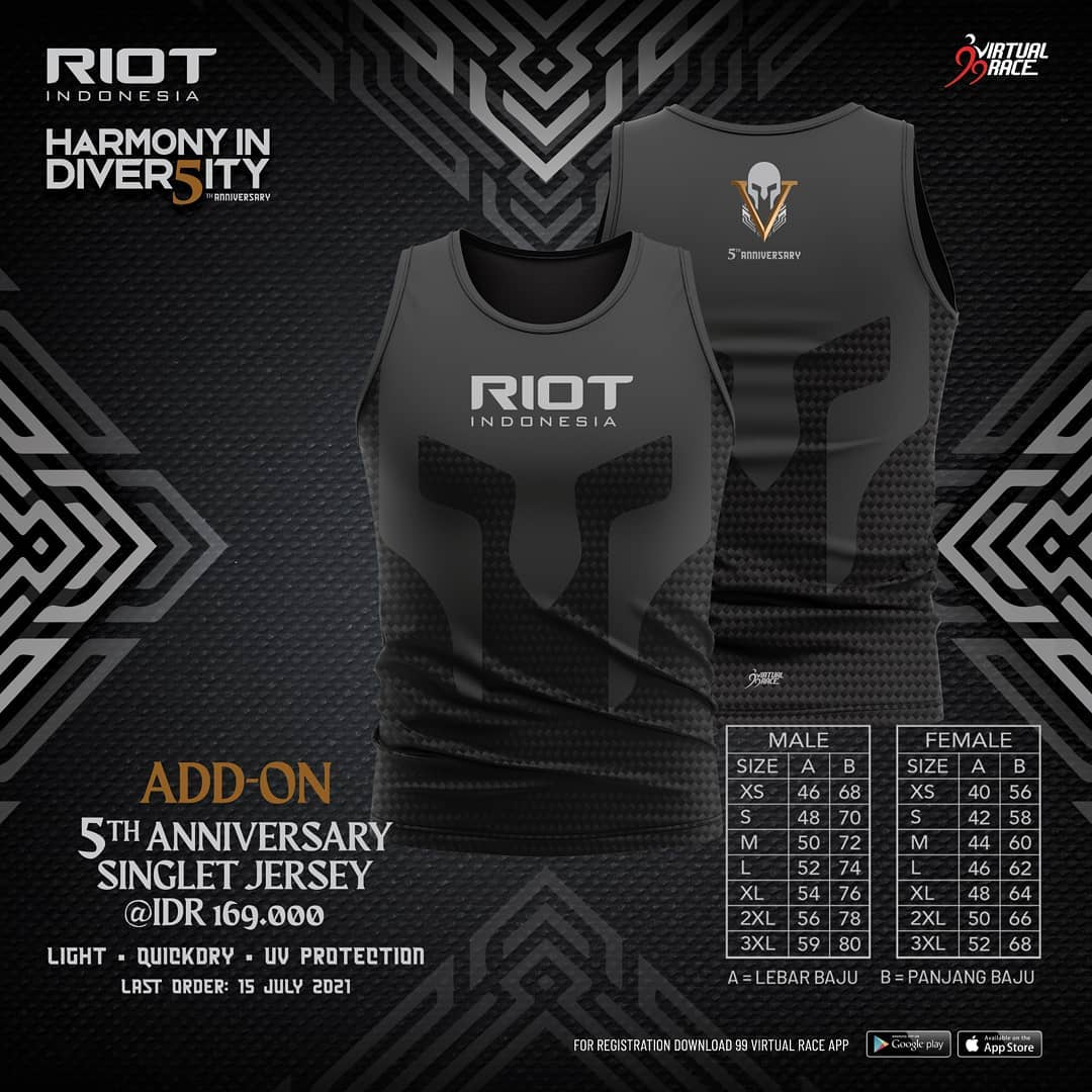Running Jersey 🎽 RIOT 5th Anniversary Virtual Run • 2021