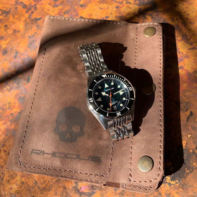 Rhodus Skull Diver and Harry's watch sleeve