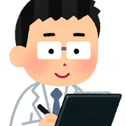 クリップボードに書き込む人のイラスト(男性医師)