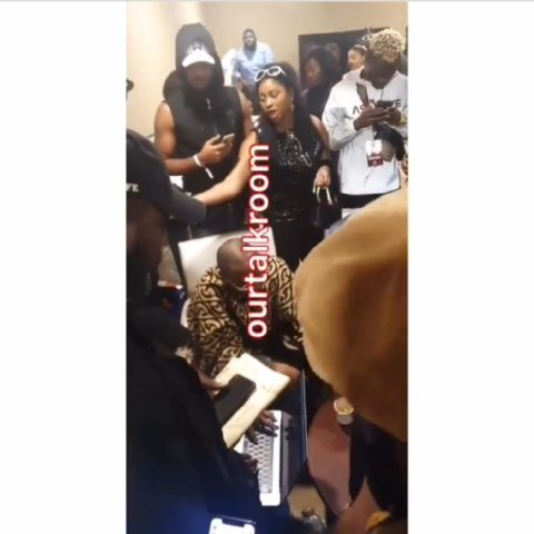 Etinosa Seen Begging To Take Pictures And Get Autographs From Davido's DMW Crew In Dubai