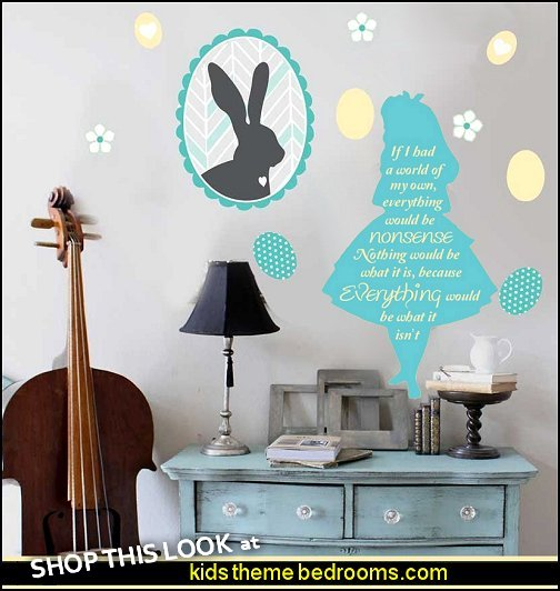 Happy Easter Wall Decal Set- Easter Bunny Wall Decal alice in wonderland wall deca