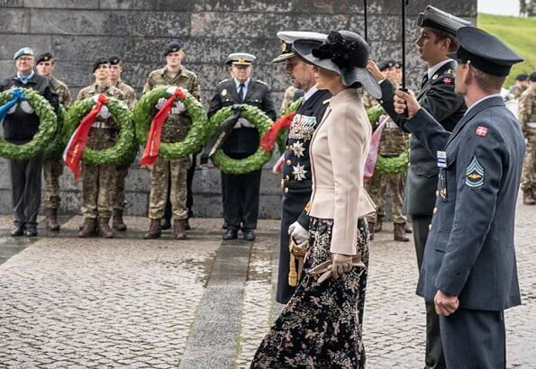Crown Princess Mary wore Andiata flower print midi skirt, double breasted pink coat, she carried Naledi Copenhagen Allana clutch