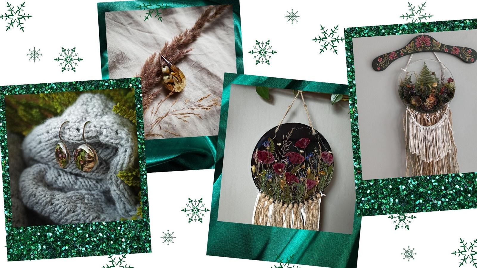 dekoracje boho handmade z  żywicy roślin drewna do domu pomysł na prezent świąteczny prezentownik