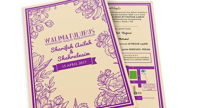 Design Kad Jemputan Kahwin Tema Vintage Purple Blog Sihatimerahjambu