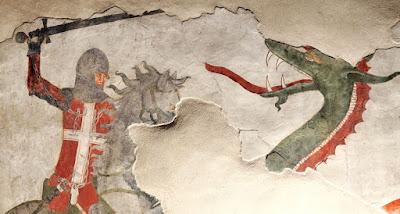 Ο Άγιος Γεώργιος πολεμά τον δράκο. Τοιχογραφία στο κάστρο της Sabbionara, Avio, Lagarina Valley, Trentino-Alto Adige, Italy, 12th century