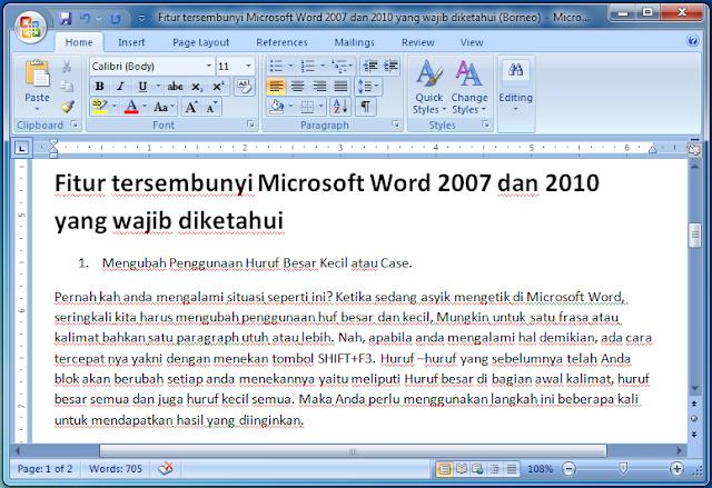 5 Fitur tersembunyi Microsoft Word 2007 dan 2010 yang wajib diketahui