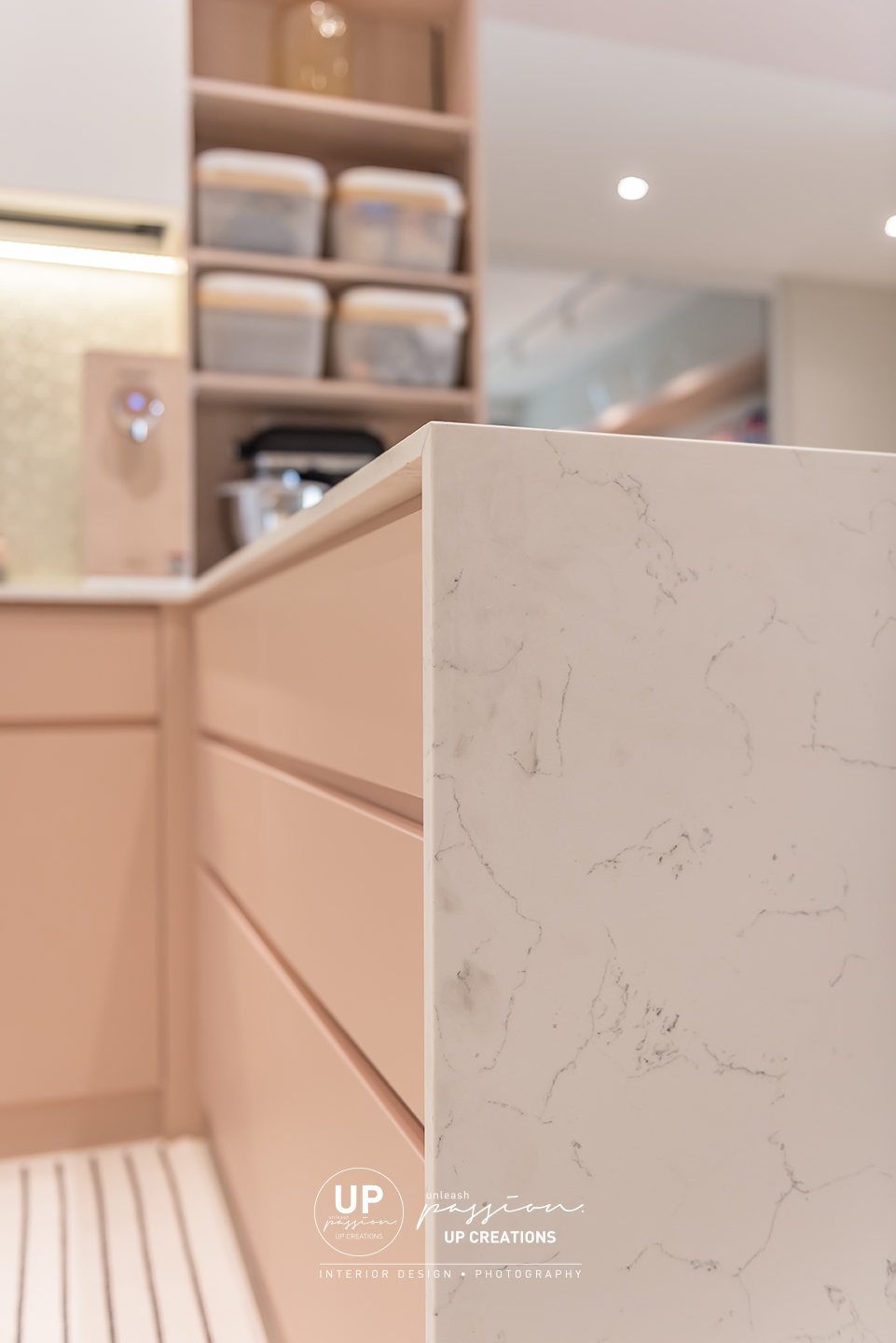 Mont Kiara Pines condo quartz in marble look match with pastel pink color cabinet
