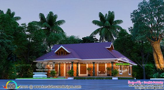 Traditional Laterite stone Kerala home in night view