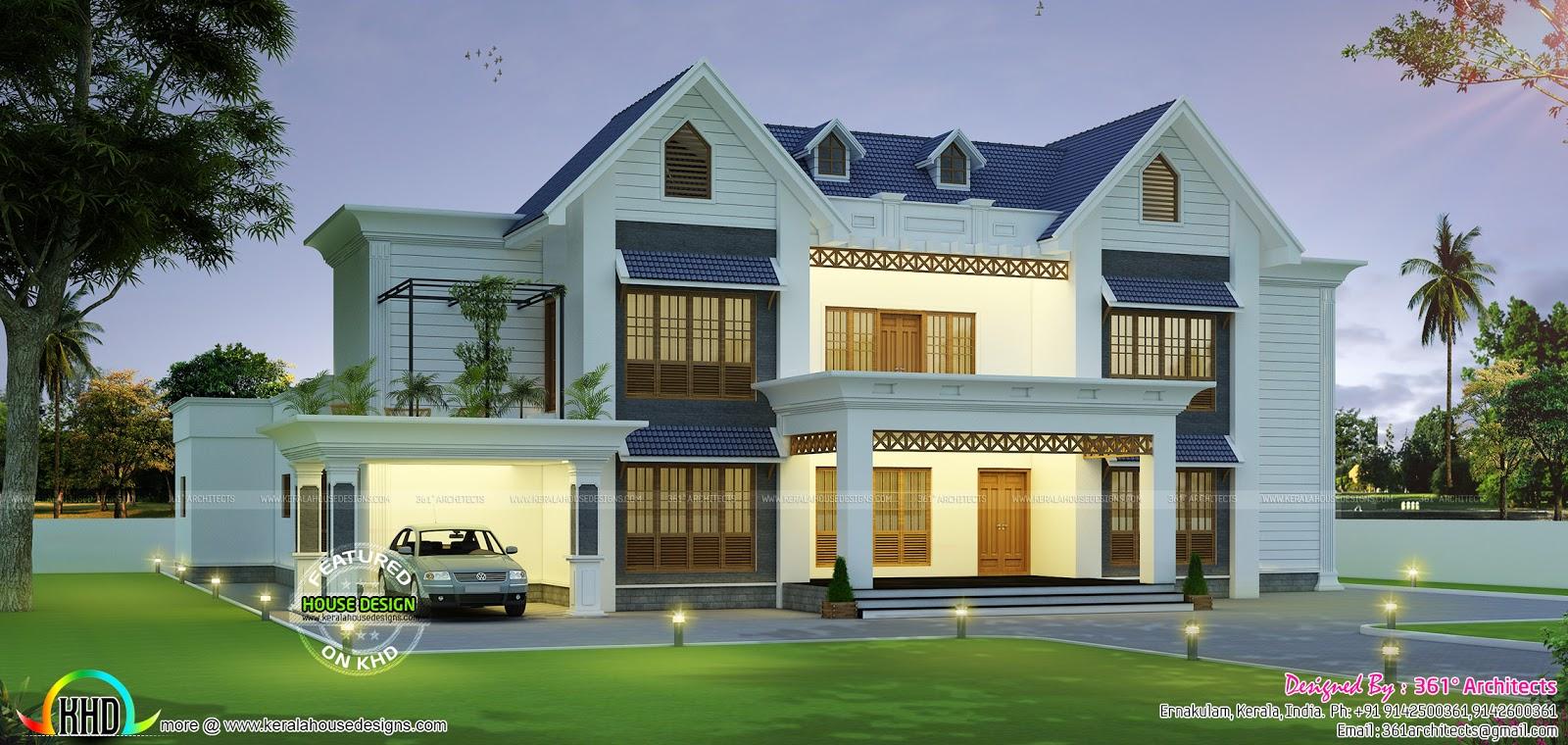 European Style Minimalist Style Home Kerala Home Design