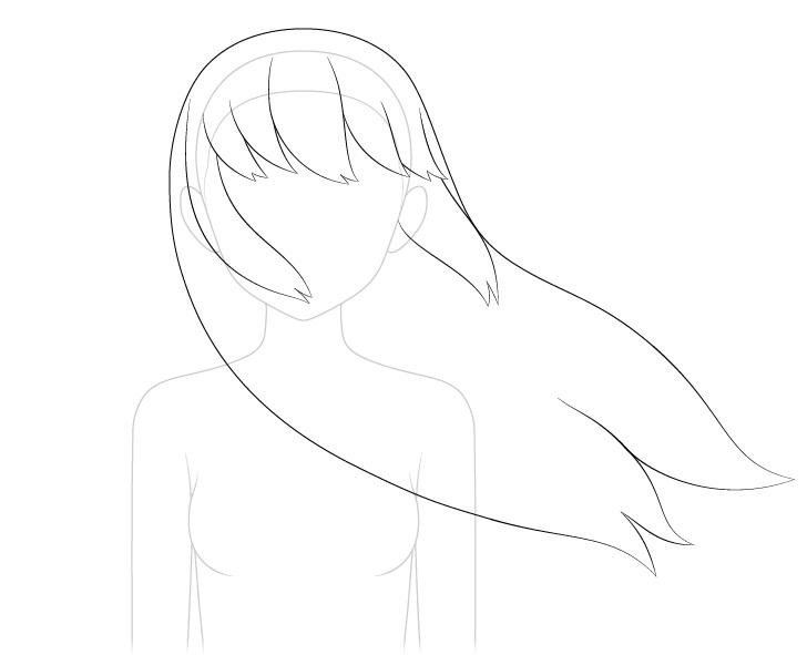 Rambut anime bertiup ke gambar garis samping
