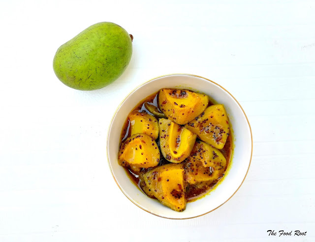 Raw mango chutney is a classic sweet, salty, spicy and sour chutney made with raw mangoes, flavored with Indian spices and sugar.