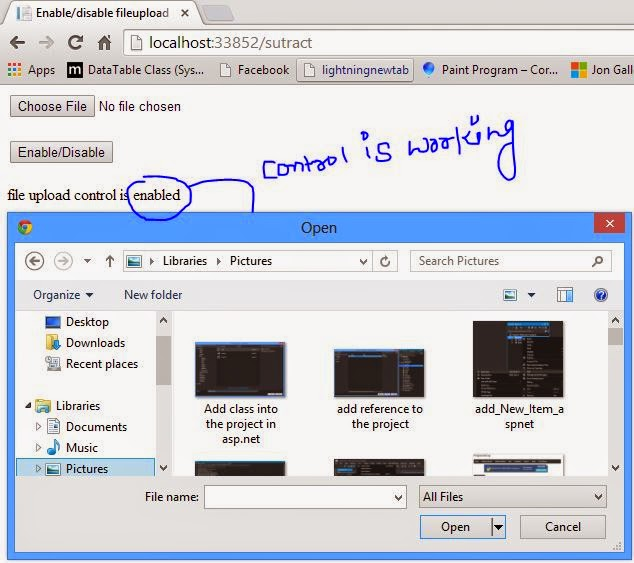 Fileupload control enable  programmatically in ASP.NET