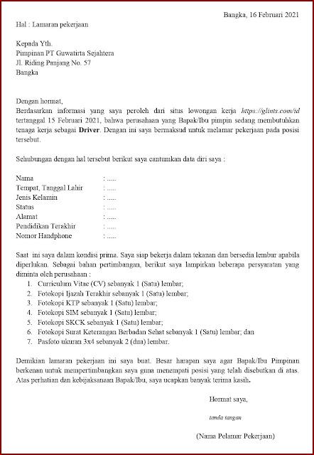 Contoh Application Letter Untuk Driver Pengiriman/Delivery/Expedisi (Fresh Graduate) Berdasarkan Informasi Dari Website