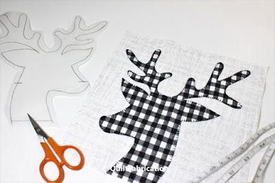 plaid reindeer head applique