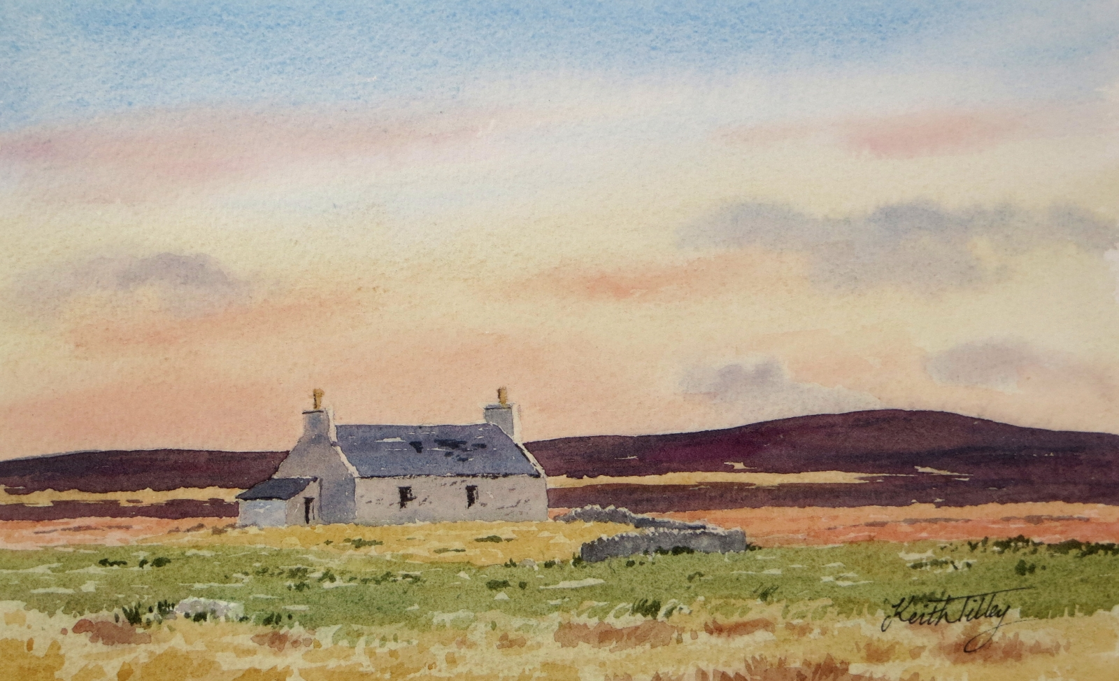 Sunset on Past Times. Original watercolour of an abandoned Scottish croft house in Caithness.