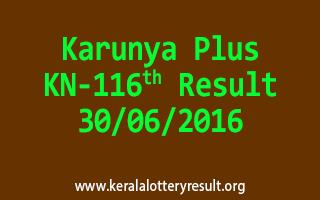 Karunya Plus Lottery KN 116 Result 30-6-2016