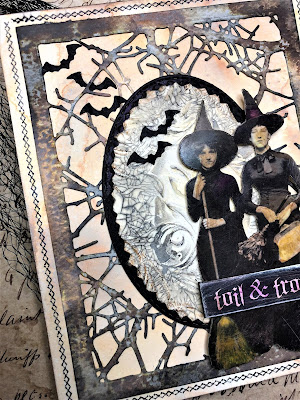 Sara Emily Barker http://sarascloset1.blogspot.com/ Toil and Trouble Card Using Tim Holtz Thinlits, Stamps and Ideaology 3