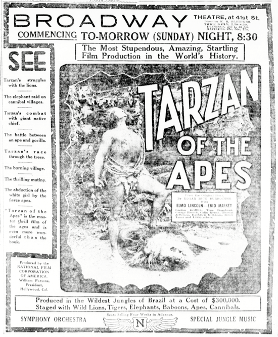 Tarzan of the Apes newspaper advertising January 26, 1918