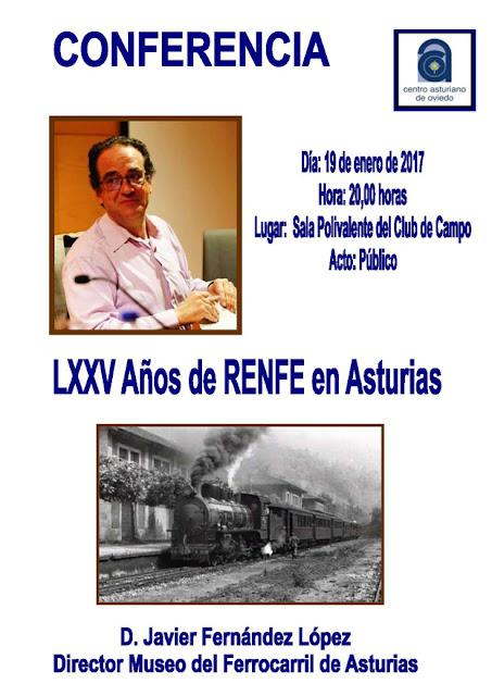 Cartel conferencia sobre RENFE en el Centro Asturiano de Oviedo