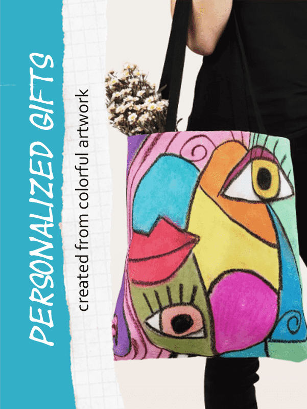 product image of tote bag featuring colorful cubism design
