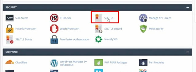SSL/TLS from cpanel to manage or install the SSL certificate on your website or blog