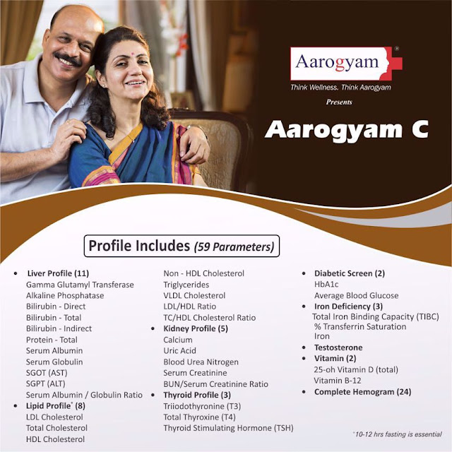 Aarogyam C Profile with Diabetes + Lipid + Renal + Liver + Vitamin + Testosterone @ Rs 1150 / 59 Tests