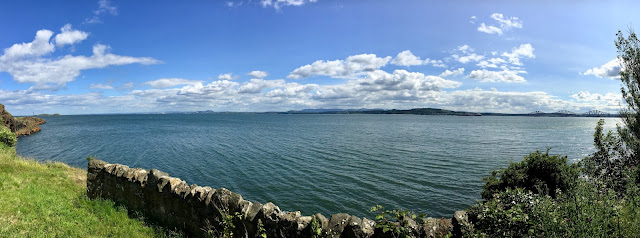 Panorama view of Firth of Forth from Fife Coastal Path, Dalgety Bay