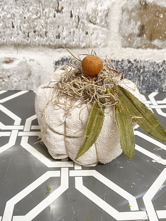 drop cloth pumpkin with leaves