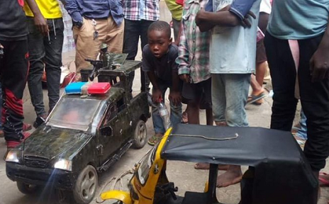 Nine Year Old Warri Boy Builds a Truck and Tricycle (Photos)