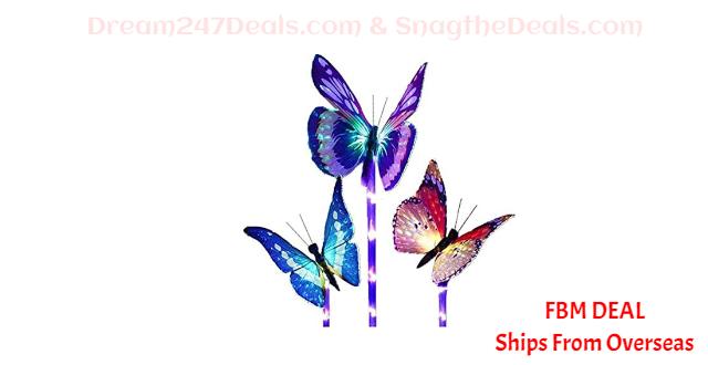 80%  off Solar LED Lawn Light Butterfly Shape Lamp Outdoor Garden