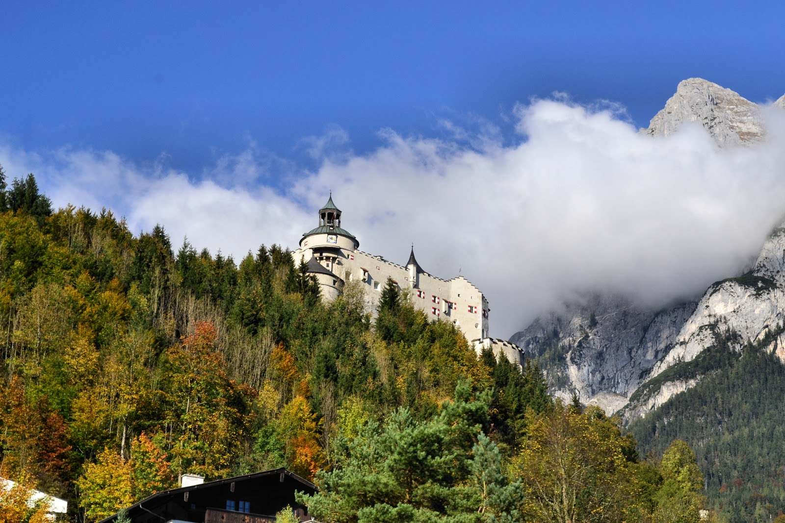 Close-up view of Hohenwerfen, the castle seen in the background of the Gschwandtanger Meadow.