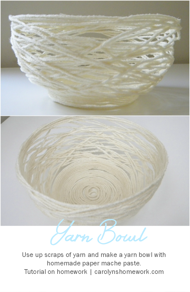 Paper Mache Yarn Bowl via homework | carolynshomework.com