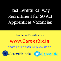 East Central Railway Recruitment for 50 Act Apprentices Vacancies