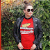 T-shirt w stylu vintage w jesiennej stylizacji z ramoneską