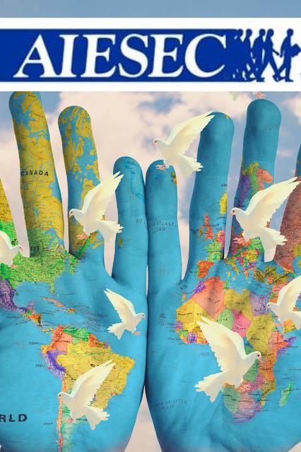 template aiesec com duas mãos desenhadas estilo mapa mundi e pombas da paz ao redor