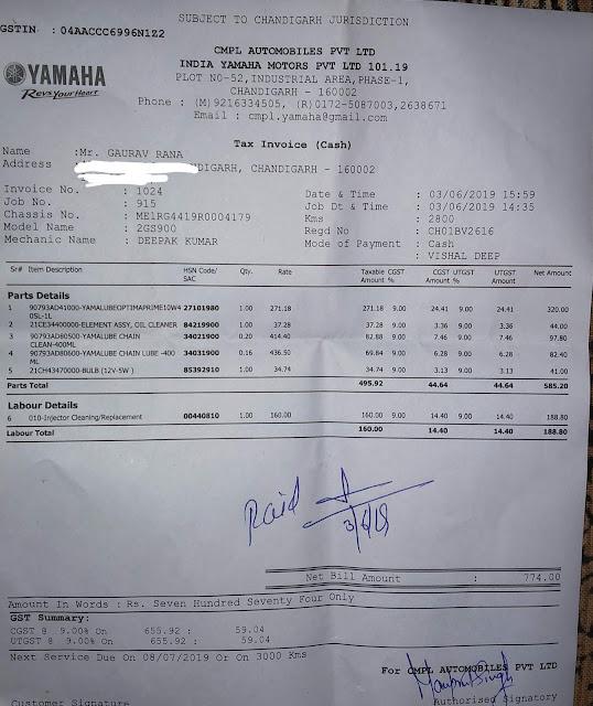 Yamaha Fz V3 second service